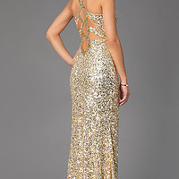 Sequin V-Neck Floor Length Dress by Primavera