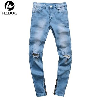 Designer Slim Fit Ripped Jeans Men hip hop Distressed Denim Joggers Knee Holes Washed Destroyed Men Zipper Jeans