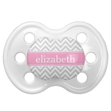 Gray & Pink Chevron & Monogram Baby Pacifier from Zazzle.com