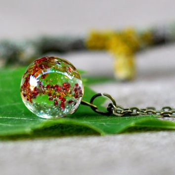 Red Wildflower Resin Orb - Resin Jewelry - Real Flower Resin Sphere Pendant - Pressed Flower Jewelry