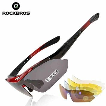 RockBros Polarized Cycling Bike Sun Glasses Outdoor Sports Bicycle Bike Sunglasses PC Goggles Eyewear 5 Lens Bicycle Accessory