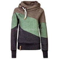 Casual Color Block Long Sleeves Hoodie For Women [8045201287]