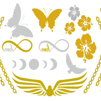 Life's a Beach Temporary Jewelry Tattoos III (includes 4 sheets with 4 styles)