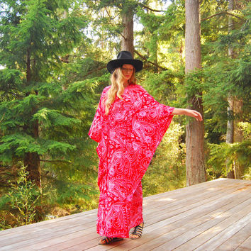 70s Caftan Dress, Red Pink Batik Hippie Maxi Dress, Hawaiian Paisley Lounge Dress, Boho Vintage Kimono Dress, Psychedelic Angel Sleeve Dress