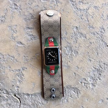 Medium Width Apple Watch Cuff from UPCYCLED Vintage Gucci Bag w/ Red and Green Tabs