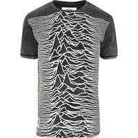 River Island MensGrey Worn By Unknown Pleasures t-shirt