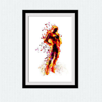 Fantastic Four print Marvel comics decor Fantastic Four poster The Human Torch print Superhero decor Home decoration Kids room wall art W453