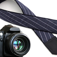 InTePro denim camera strap with white stripes. Blue DSLR / SLR  camera strap. Photo camera accessories.