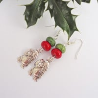 Santa Earrings, Howlite Earrings, Christmas Earrings, Red and Green Earrings