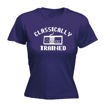 123t USA Women's Video Games Classically Trained Funny T-Shirt