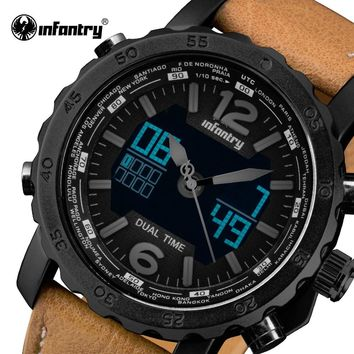 Mens Watches Luxury Brand INFANTRY LED Display Analog Digital Sport Watches Leather Strap Aviator Military Clocks Relojes Hombre