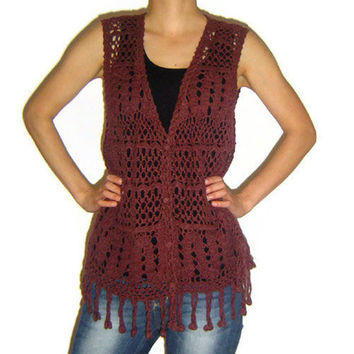 Womans Crochet Vest, Handmade Brown Fringe Accessory, Bohemian Hippie Inspired Vest, Wool Acrylic Fiber, OOAK