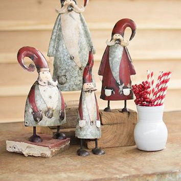 Set Of 4 Galvanized And Painted Santas