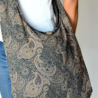 Gray Paisley Cotton Bag Handbags Hippie Bag Hobo Bag Boho Bag Shoulder Bag Sling Bag Messenger Tote Bag Crossbody Bag Purse Women