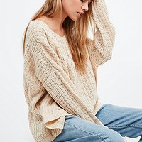 UNIF High-Low Jumper in Cream - Urban Outfitters