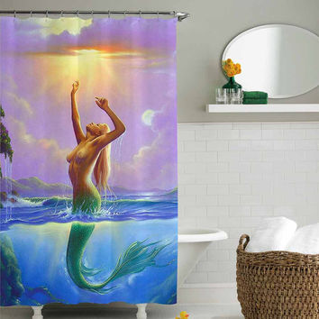 mermaid sexy shower curtain,shower curtain size 36x72 48x72 60x72 66x72