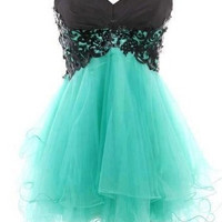 Sweetheart Teal Tulle Homecoming Dress
