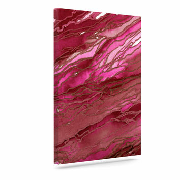 "Ebi Emporium ""Agate Magic - Hot Pink Red"" Magenta Abstract Canvas Art"