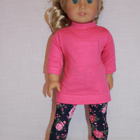 pink long sleeve shirt, navy floral print leggings,18 inch doll clothes, American Girl doll clothes