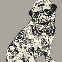 Pug Tattoo Art Print by Huebucket