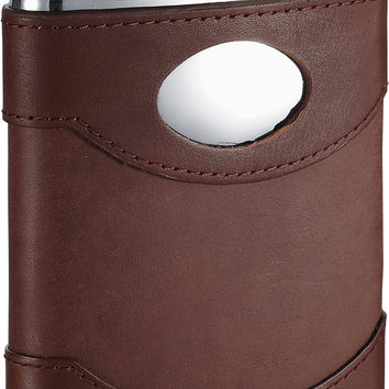 Visol Armstrong Brown Leather Stainless Steel Hip Flask - 6oz