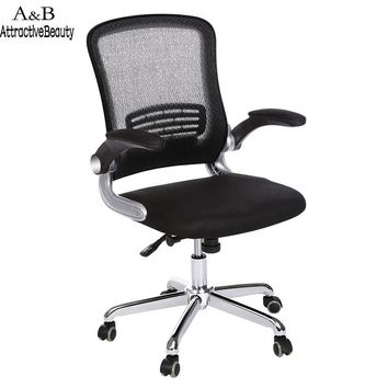 Ancheer Black Mesh Adjustable Home Office Chair Stool with Armrest Swivel Computer Chair Task Office Furniture