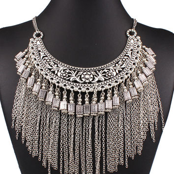 Silver Carve Floral Chain Tassel Necklace