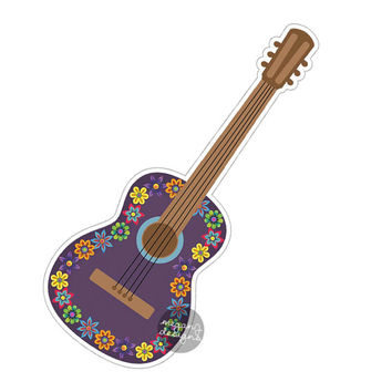 Purple Guitar Car Sticker - Colorful Flowers Bumper Sticker Laptop Decal Cute Car Decal Hippie Boho Music Musician Sticker