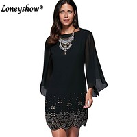 Loneyshow Summer Dress Plus Size Women Sequined Embroidery Party Dresses 2017 Large Size Work Elegant Bodycon Dress 5XL
