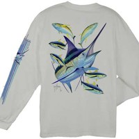 Guy Harvey Marlin Yellowfin Long Sleeve Back-Print T-Shirt