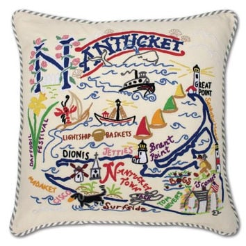 Nantucket Hand Embroidered Pillow