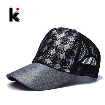 2017 Girl 's Sun Cap Snapback Flashes Hip Hop Trucker Hat 5 Panel Breathable Mesh Cap Summer Baseball Sun Hats For Women