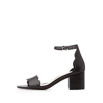 Ankle Strap Scallop Sandals | Charlotte Russe