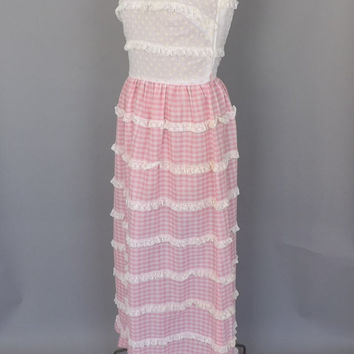 Vintage Vicky Vaughn Jr 1960s 1970s Pink Gingham Dress Cotton White Eyelet Lace Country Summer Sundress Boho Hippie Folk Festival Maxi Dress
