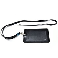 1PC High Quality Leather Id Holder Case PU Business Badge Card Holder with Necklace Lanyard letter print company office supplies