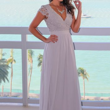 Gray Crochet Top Maxi Dress with Open Back