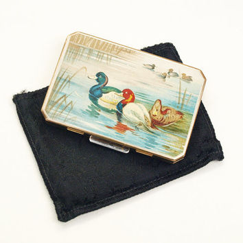 Powder Compact, Stratton Compact, Mirror Compact, Loose Powder Compact, Slab Compact, Ducks, River Scene, Suitcase Compact - 1940s / 1950s