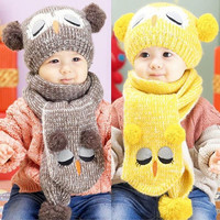 Attractive set Winter Baby Toddler Boy Girl Kids Warm Hat Cap + Scarf 1--5 Years = 1957838788