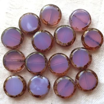 15 lilac Czech glass coin, 11mm disc beads, flat round beads, translucent milky purple, lavender, opal picasso beads 59101