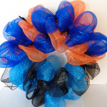 Football decor, Broncos and Panthers Themed Wreath, House Divided Wreath, Team Wreath, Deco mesh wreath, Sports decor, Football Team Wreath