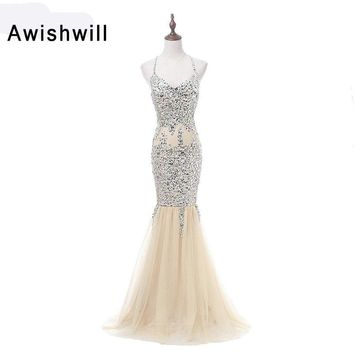 Real Photo Sexy Mermaid Prom Dresses Long 2018 Spaghetti Strap Beadings Tulle Champagne Backless Evening Pageant Gowns for Women