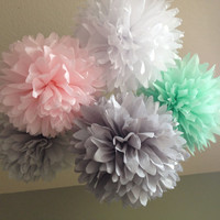 Ice Cream Shoppe - SALE - 5 Tissue Pom Pom Decoration Graduation Party - DIY Decor Kit