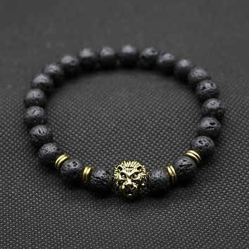 Lion Lava Stone Beaded Bracelet