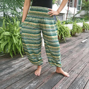 Zen Aztec Stripes Green Print Trousers Yoga Harem Pants Summer Hippie Baggy Boho Style Gypsy Cool Cloth Tribal Clothing For Beach Unisex