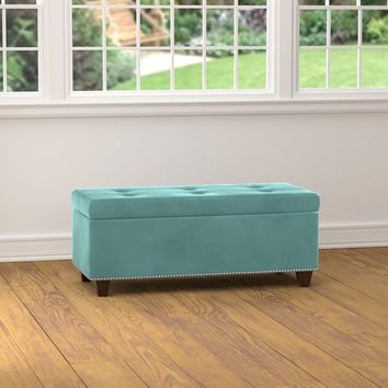 Handy Living Tufted Turquoise Blue Velvet Bench Storage Ottoman | Overstock.com Shopping - The Best Deals on Ottomans