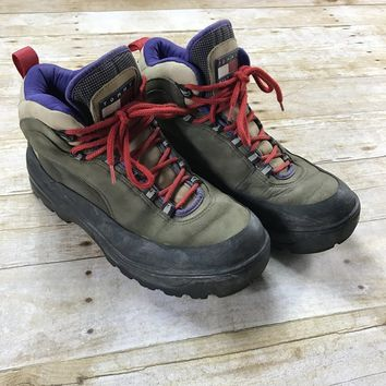 Vintage 90s Tommy Hilfiger Leather Hiking Boots Mens Size 9 1/2