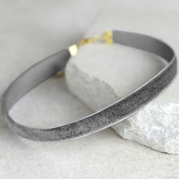 Stronger Grey Velvet Choker Necklace