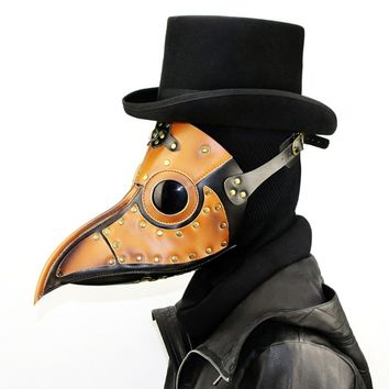 Halloween Cosplay Costume Steampunk Gothic Plague Long Beak Mask Doctor Masquerade Stage Costume Unisex Bird Beak Mask