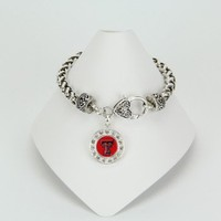 Texas Tech Crystal Circle Bracelet