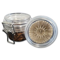 Airtight Stash Jar with Silicone Seal - Medieval Sun - Food-Grade Plastic with Locking Wire Top - Smell Proof Hermes Container